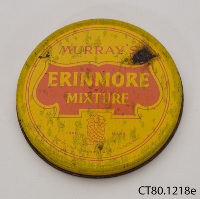 Lid, tobacco tin; Murray, Sons & Co (New Zealand) Ltd.; [?]; CT80.1218e
