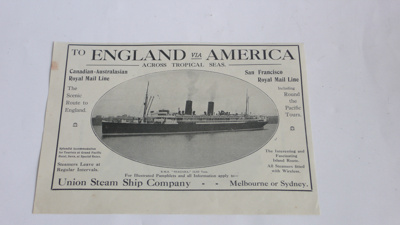 Advertisement 'RMS Niagara' 1917: RETURNED TO KEITH GORDON O/R 1108   ; 814