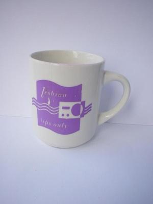 For Lesbian Lips Only Mug, Lesbian Radio, Wellington New Zealand, 1990s, 124