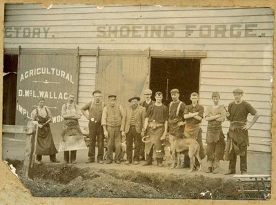 D. McL. Wallace Shoeing Forge and workers, 1906, 44