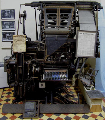 Linotype used by the Te Aroha News Printing & Publ...