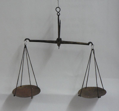 Brass scales used to weigh gold