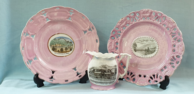Pink Souvenirware Plates and Jug; 45