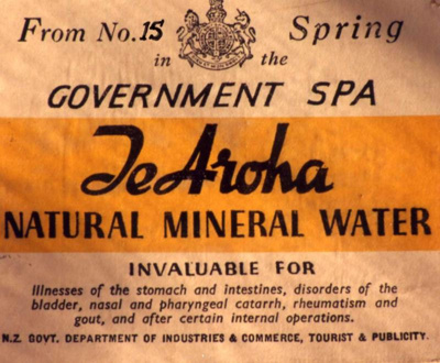 Label from Te Aroha Natural Mineral water bottle