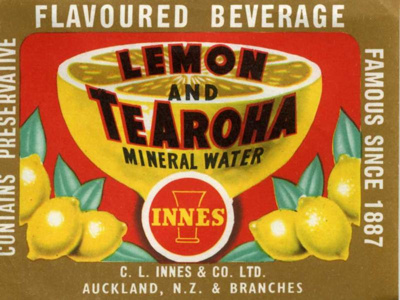 Label from Lemon & Te Aroha Mineral Water Bottle