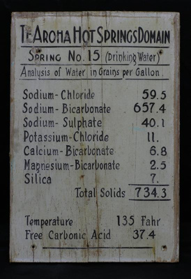 Original sign with an analysis of the minerals in ...