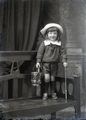 Boy with bucket and spade; 378
