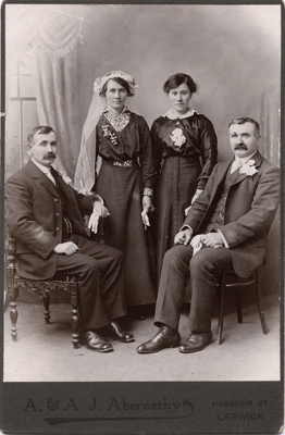 Group photograph of bridal party. Two men and two women.; A. & A. J. Abernethy; 13-1042