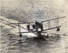 Black and white photograph of the Walsh Brothers Flying School's Supermarine Channel Flying Boat, planing at high speed; 1916-1924; 04/077/073