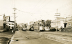 Trams  Auckland,  Dominion Rd at Onslow Rd (to right) view south to Valley Rd; Graham C. Stewart (b.1932); 14-0114