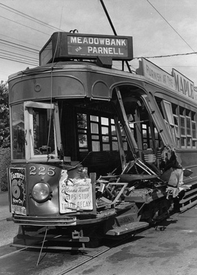 Tram no. 225, showing damage to the front and part of the left side of the tram; Unidentified; 06-1186