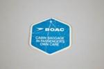 Baggage Tag [BOAC]; British Overseas Airways Corporation (England, estab. 1939, closed 1974); 2013.340