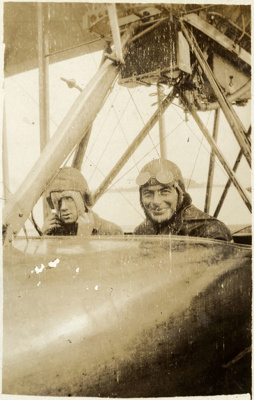 "Black and white photograph of Vivian Walsh and another man inside Curtiss ""B"" flying boat of the Walsh Brothers Flying School; 1916-1920; 04/071/090"