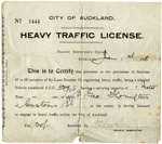 City of Auckland heavy traffic license; Auckland City Council (closed 2010); 1918; 96/005/003