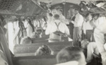 [Auckland tramways cricket team on train to Wellington for Laughlan Cup]; Unknown Photographer; Feb 1948; 14-0832