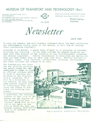 MOTAT Newsletter July 1966; MOTAT; July 1966; 04-1334