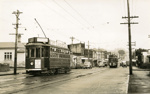 Trams  Auckland,  Dominion Rd and Onslow Rd ( on right) view south to Valley Rd; Graham C. Stewart (b.1932); 14-0124