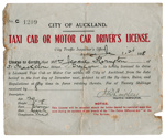 City of Auckland taxi cab or motor car driver's license : Jessie Thorrington; Auckland City Council (closed 2010); 1918; 96/005/004