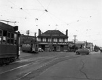 Tram at the intersection of Broadway, Manukau Road and Great South Road, Newmarket; Graham C. Stewart (b.1932); 06-1215
