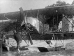New Zealand Flying School, Caudron floats in water; Unidentified; 10-0994