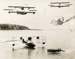 Photograph-montage of a boat, three flying boats and a fabulous flying machine with two passengers; Unidentified; Circa 1920; 06/097/068