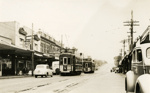 Trams  Auckland,  Dominion Rd at Valley Rd ( to right) view north; Graham C. Stewart (b.1932); 14-0125