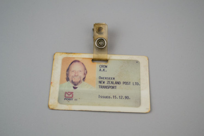 Identification Card [New Zealand Post, Transport Division]; New Zealand Post Office; 15 Dec 1990; 2017.17.6