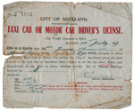 City of Auckland taxi cab or motor car driver's license : Jessie Thorrington; Auckland City Council (closed 2010); 1917; 96/005/005