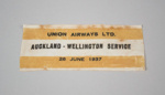 Commemorative Label [Union Airways Limited]; Union Airways of New Zealand Limited (New Zealand, estab. 1936, closed 1947); 1937; 2013.439