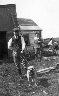 New Zealand Flying School  bulldog on leash at Kohimarama; Unidentified; 10-0910