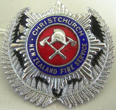 Badge [Christchurch New Zealand Fire Service]; 1982.53.75