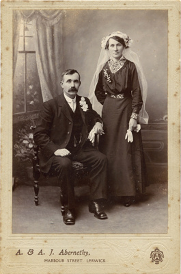 Wedding photograph of man and woman; A. & A. J. Abernethy; 13-1041