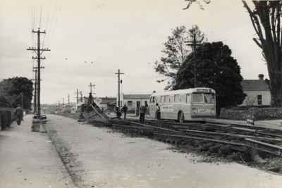 [Track removal on Sandringham Road near Grove Road]; Unknown Photographer; 03 Sep 1955; PHO-2017-5.27