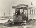 [Unidentified motorman and conductor on tram no. 56 at Onehunga terminus]; Unknown Photographer; [1902-1956]; PHO-2017-5.8
