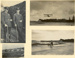 Four black and white photographs mounted in a folder: Vivian Walsh and Richard Russell (?) in uniform, view of tents and huts at the flying school, a landplane on the beach at Mission Bay, and an...