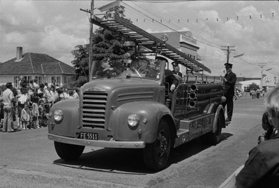 Photograph of Thames Fire Brigade ladder truck; Les Downey; 1972-1976; 14-2138