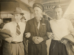 [Unidentified rugby supporters farewell team at train station]; Unknown Photographer; 1940s?; 14-0828
