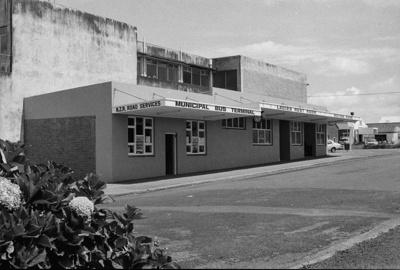 Photograph of Pukekohe bus station; Les Downey; 1973; 14-1748