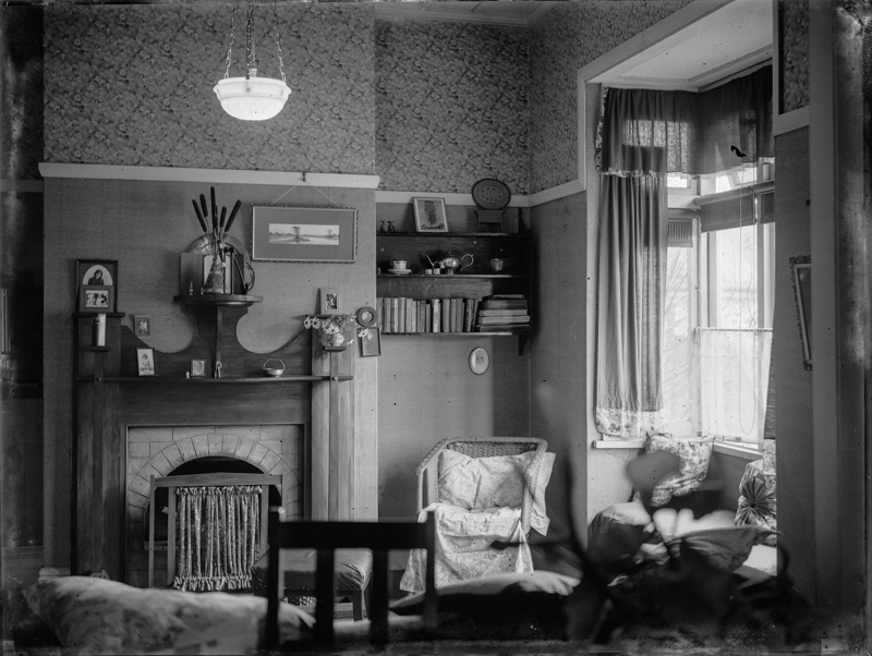 Interior design of living dining room in domestic dwelling for 1930s interior decoration
