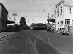 Tram no. 253 turning from Victoria Ave into Remuera Road; Graham C. Stewart (b.1932); 06-1149