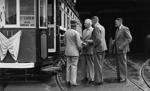 Charles Bowden with a group of men at the front door of tram no. 11; W.W. Stewart (b.1898, d.1976); 06-835