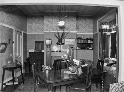 Interior design of living-dining room in domestic dwelling; Unidentified; 1930s; 13-2263