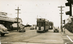 Trams  Auckland,  Dominion Rd at Balmoral Rd (left to right) view north ( before extensive road works in area); Graham C. Stewart (b.1932); 14-0110