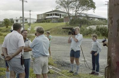 Photograph of excursion photographers on Opua line; Les Downey; 1985?; 14-4640
