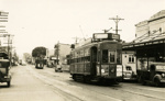 Trams  Auckland,  Dominion Rd near Grange Rd ( to right) view north to Valley Rd and shops; Graham C. Stewart (b.1932); 14-0126