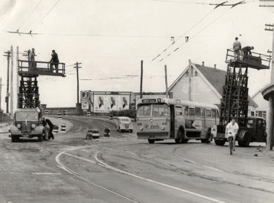 Overhead wire maintenance; Graham C. Stewart (b.1932); 1950s; 08/092/068