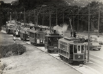 [MOTAT heritage tram nos. 11, 100 (steam), 248, 257, 135, 321 running on MOTAT tramway]; New Zealand Herald; 28 Nov 1982; PHO-2017-5.35