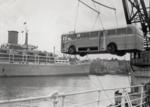 Floating crane Mahua unloading diesel bus; Graham C. Stewart (b.1932); 08/092/075