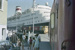 Photograph of Opua wharf, train and cruise ship; Les Downey; 1985; 14-4296