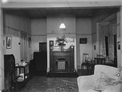 Interior design of living-dining room in domestic dwelling; Unidentified; 1930s; 13-2206